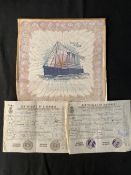 OCEAN LINER: S.S. Pittsburgh fabric napkin 'Souvenir of My Voyage' 10½ins. x 10½ins. Plus a pair