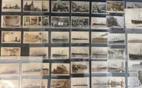 OCEAN LINER: A collection of approximately fifty original black and white postcards - White Star