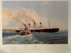 R.M.S. TITANIC: Limited edition Stephen Card print 'The Hour to Eternity', plus 'Titanic' by