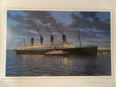 R.M.S. TITANIC: Ken Marschall limited edition print of Titanic signed by survivor Winifred Van