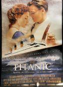 R.M.S. TITANIC: James Cameron's Titanic cinema poster, 27ins. x 40ins. Plus one other Titanic