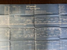 R.M.S. LUSITANIA: An extremely rare blueprint of the S.S. Lusitania titled 'Plan Shewing