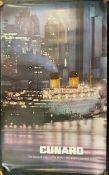 OCEAN LINER: Queen Elizabeth in New York City, agent's poster. 25ins. x 39½ins.