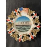 R.M.S. OLYMPIC: Unusual milk glass souvenir plate bordered with the stars and stripes, plus American