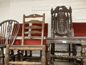 19th cent. Oak Carolean style carved chairs, wicker seats open back, barley twist supports and legs,