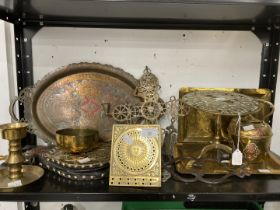 20th cent. Brass & Copper Ware: Includes trivet stand, Islamic tray, two hammered trays, bellows,