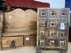 20th cent. Rustic pitch pine wall mounted cupboard with shelf and two drawers. 16ins. x 13½ins. x