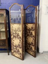 Edwardian mahogany framed partition screen, lower silk panels decorated in the Oriental style with
