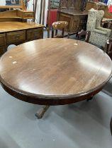 Late 19th cent. Mahogany oval tilt top table on ornate heavy three legged base with castors (locking