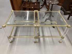 20th cent. Art design tables anodised and perspex supports, glass top and bottom shelves. 2ft. x