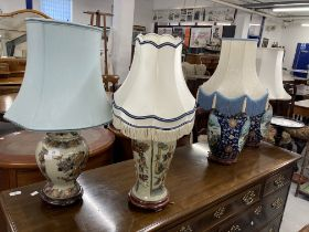 Oriental: Two modern Chinese blue ground lamps, a pair. 11ins. Plus two others.