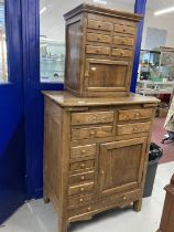 Rustic oak Ecuadorian oak two tier kitchen with spice drawers. 32ins. x 63ins.