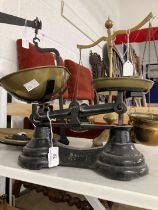Scales, Weights & Measures: 19th cent. Beam scales with weights, plus a small reproduction set and a