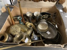 Metalware: 19th and 20th cent. Brassware, copperware and platedware including hunting horns,