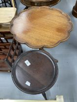 19th cent. Mahogany pie crust tripod side table. 25½ins. x 22ins. Plus wine table.