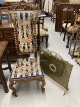19th cent. Rosewood hall chair with barley twist decoration and cabriole supports, woolwork seat and