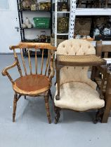 20th cent. Button back nursing chair, spindle back carver, and a rattan stool.