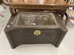 Post-war Chinese camphor wood chest decorated with bamboo. 40ins. x 21ins. 20ins.