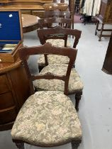 Early 20th cent. Mahogany bar back dining chairs x 4, plus one other. (5)