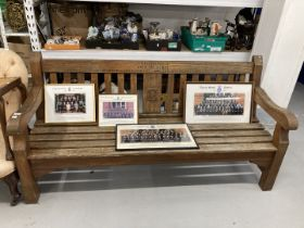 Harrow School: 20th cent. Bench carved Harrow Crest and 'With Thanks to John Akehurst Harrow