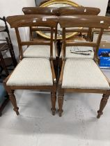 19th cent. Mahogany bar back dining chairs, plus a harlequin group of four rattan dining chairs.