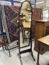 Early 20th cent. Beech Cheval mirror shaped step top on two supports. 13ins. x 62ins.