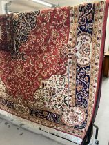 Carpets & Rugs: 21st cent. Keshen carpet, red ground. 9ft. 2ins. x 6ft. 6ins.