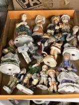 20th cent. Ceramics: Bisque figures of children, old people, etc. x 13, ivorene plaque Anne