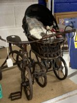 Toys: Dolls toys reproduction of a 19th cent. Metal and basket ware dolls pram and a reproduction of