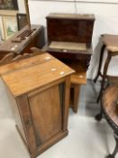 Rustic yew coffee table, 19th century step commode steps and an Edwardian pot cupboard. (3)