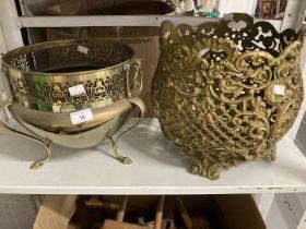 Metalware: Brassware, Islamic style brass flowerpot holder with fretwork decoration 11ins high x