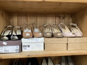Fashion/Designer Shoes & Boots: Unisa beige patent leather sling back peep toe shoe, 3½ins heel,