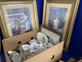 19th cent. and later ceramics, miscellaneous to include Pears prints in gilt frames, Hammersley