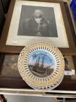 Nelson: 19th cent. German ribbon frames showing HMS Victory in Portsmouth. 8ins. (3) plus assorted