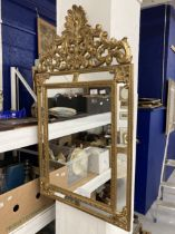 20th cent. Gilt decorated wooden framed multi sectional mirror. 42ins. x 24½ins.