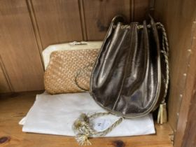 Fashion Handbags: Tan woven straw clutch bag, black lining. Bronze leather bag silver and gold