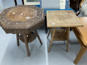 20th cent. Oriental carved Padouk wood drinks tables. (2)