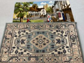 Textiles: 20th cent. Decorative wall hangings x 2, contemporary rugs, plus parasols, Balinese