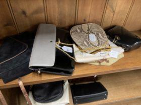 Fashion Handbags: Kurt Geiger snakeskin bag gilt chain handle, gilt furnishings, cream silk