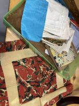 Fashion & Accessories: Ladies and gentlemen's silk handkerchiefs all in a silk lined suede bag. (