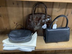 Fashion Handbags: Joan and David brown leather bag, double leather handles, zip compartment, leather