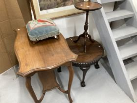 20th cent. Mahogany two tier side table, 32ins. x 19ins. x 37ins. Embroidered footstool, circular