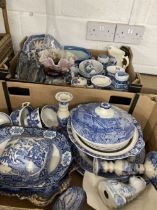 Ceramics: Large quantity of Woods blue and white willow pattern and others, together with framed and