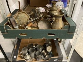 20th cent. and later white metal and brassware skimmers, candlesticks, etc. (2 boxes)