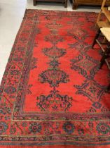 Carpets & Textiles: 19th cent. Turkey carpet, red ground, seventeen guls of geometric design with