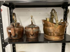 Late 19th cent. Two copper kettles together with a small copper coal scuttle, and a quantity of