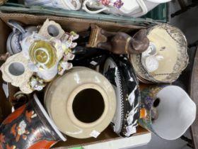 20th cent. Ceramics: Three jardiniere, jugs, dishes, bowls, pottery swan, chamber pots,