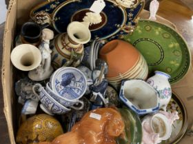 19th/20th cent. Continental Ceramics: Includes Keramis dish, Delft, Austrian plate, fox, etc.