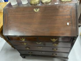 19th cent. Mahogany drop front bureau with well fitted interior. 36ins. x 41ins. x 20½ins.