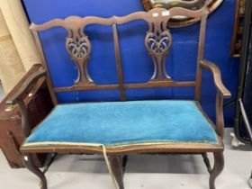 20th Cent. Chippendale style 2 seater hall seat with blue upholstered drop in seat.